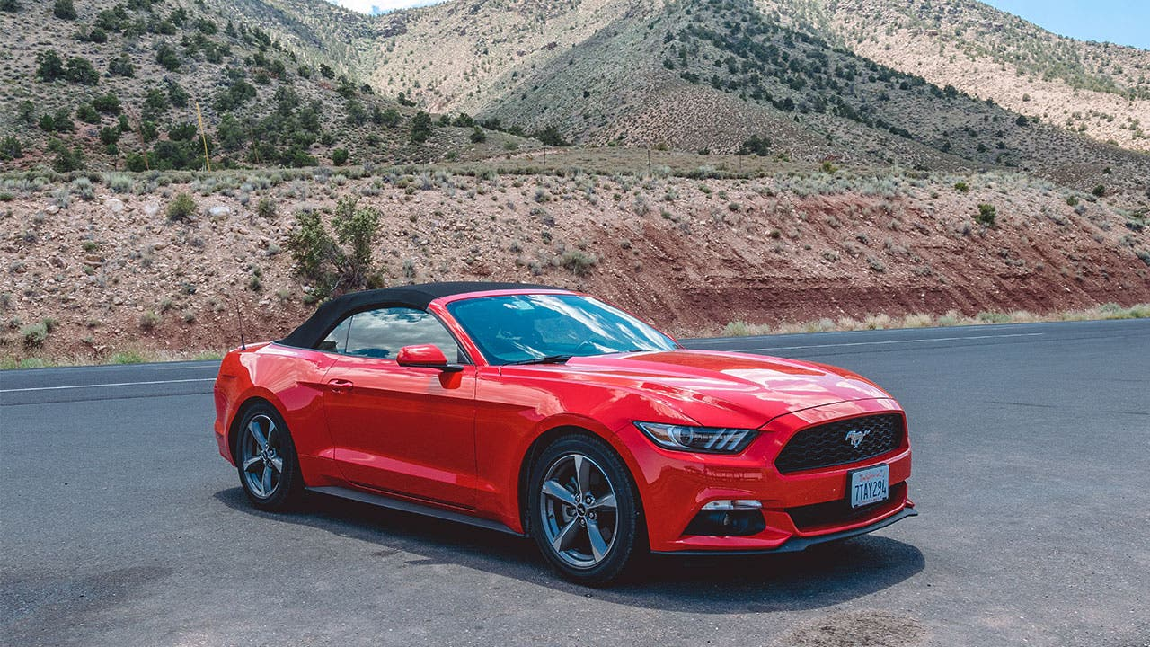 New red mustang convertible