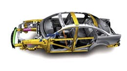 The bodies of modern cars like this one from the new Ford Taurus, are precisely engineered to withstand a crash