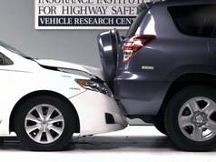 Misaligned bumpers cause thousands of dollars worth of damage, even at only 10 mph (photo courtesy of IIHS)