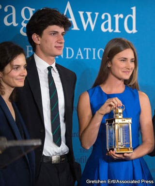 From left to right are Rose Schlossberg, Jack Schlossberg and Lauren Bush Lauren.