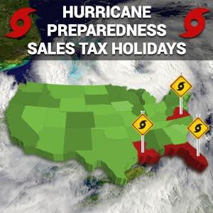 US Map: © chuckstock/Shutterstock.com; Hurricane arial: © Harvepino/Shutterstock.com; Sign: © Kuttly/Shutterstock.com