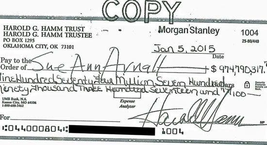 The biggest personal check ever?