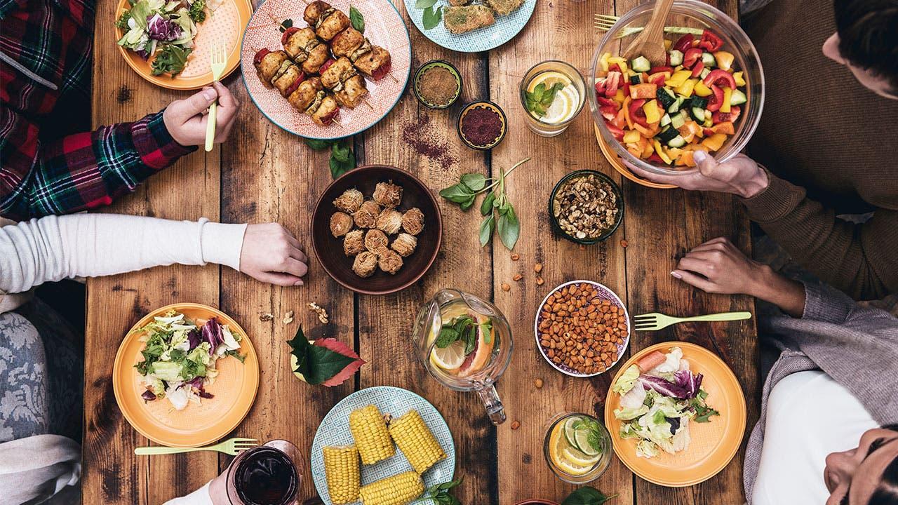 Dinner table eating