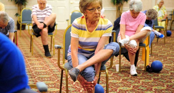 Above, residents at Brandon Wilde retirement community in Evans, Georgia, participate in a strength and balance class. © Emily Rose Bennett/Staff/ZUMA Press/Corbis