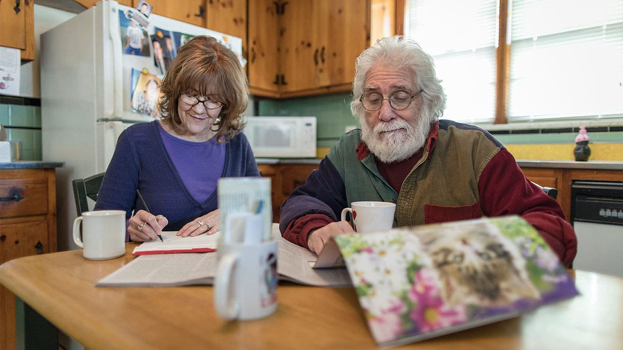 Couple doing loan paperwork