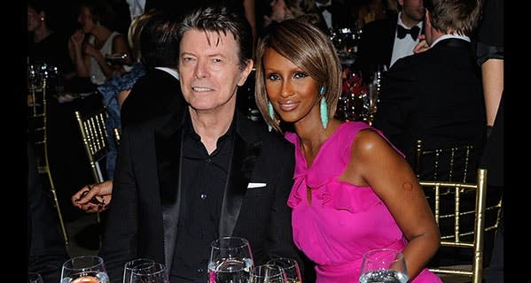 David Bowie attends a gala event with supermodel wife Iman Jones, to whom he left half of his wealth. Andrew H. Walker/Getty Images