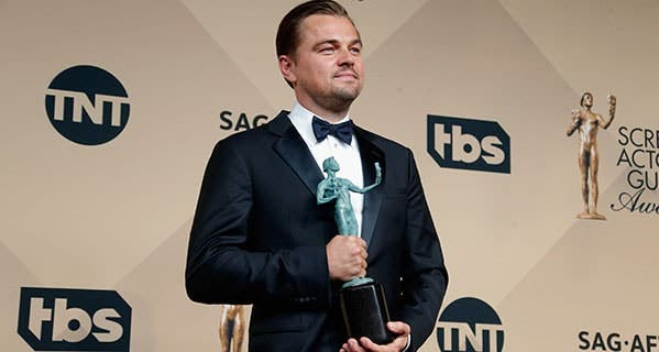 Leonardo DiCaprio receives a Screen Actors Guild award in January for his performance in 'The Revenant.' Jeff Vespa/WireImage/Getty Images