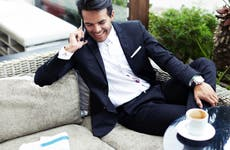 Successful young businessman on a phone call