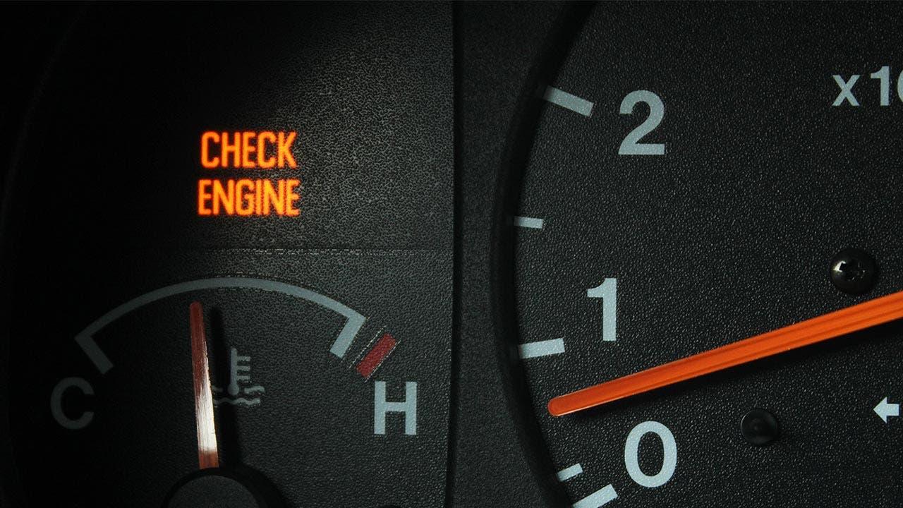 'Check engine light' lit up on dashboard