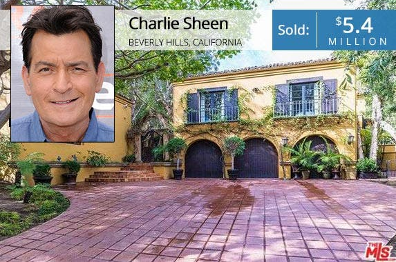 Charlie Sheen | Noel Vasquez/Getty Images; House: Redfin