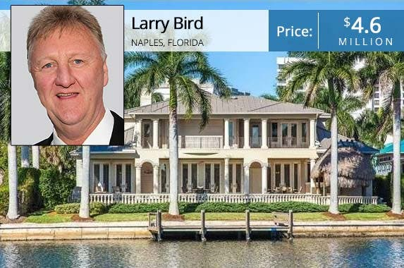 Larry Bird sinks price to unload his fab Florida home | Larry Bird: Bruce Glikas/Getty Images; House: Realtor.com