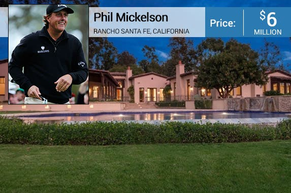 Phil Mickelson: © MIKE BLAKE/Reuters/Corbis; House: Realtor.com