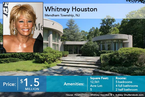 Whitney Houston House for Sale House: Realtor.com | Whitney Houston © s_bukley Shutterstock.com