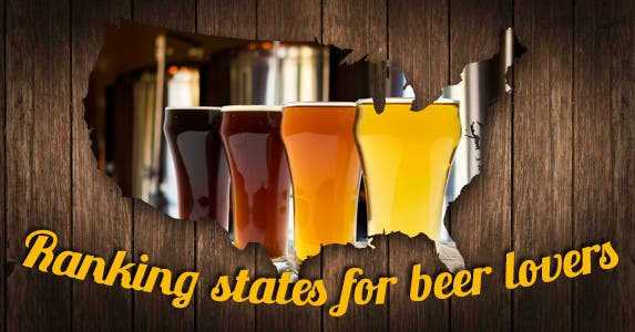Best states for beer | Beer photo © MaxyM/Shutterstock.com; Store icon © Vector Icon/Shutterstock.com; Beer icons © VINTAGE VECTORS EPS10/Shutterstock.com