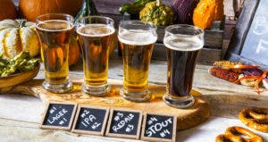 Four beers lined up for an oktoberfest beer tasting © MaxyM/Shutterstock.com