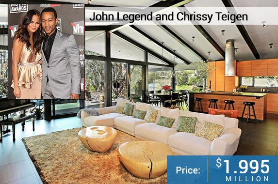 John Legend and Chrissy Teigen © DFree/Shutterstock.com; House: Realtor.com