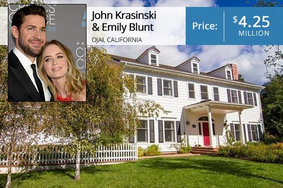 John Krasinski and Emily Blunt: © KEVORK DJANSEZIAN/Reuters/Corbis; House: Realtor.com