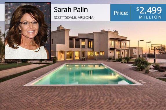 Sarah Palin: © Nancy Kaszerman/ZUMA Press/Corbis; House: Realtor.com
