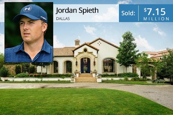 Jordan Spieth: Suhaimi Abdullah/Getty Images; House: Realtor.com
