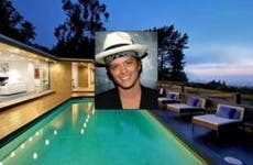 Bruno Mars: Kevin Mazur/Getty Images; House: Redfin