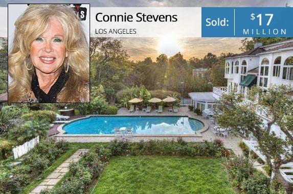 Connie Stevens: Rodrigo Vaz/FilmMagic/Getty Images; House: Redfin