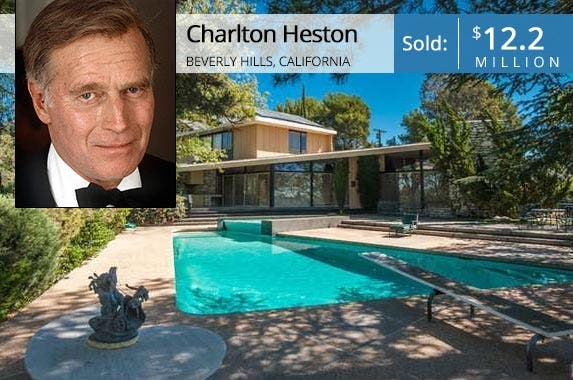 Charlton Heston | Kypros/Hulton Archive/Getty Images; House: Redfin