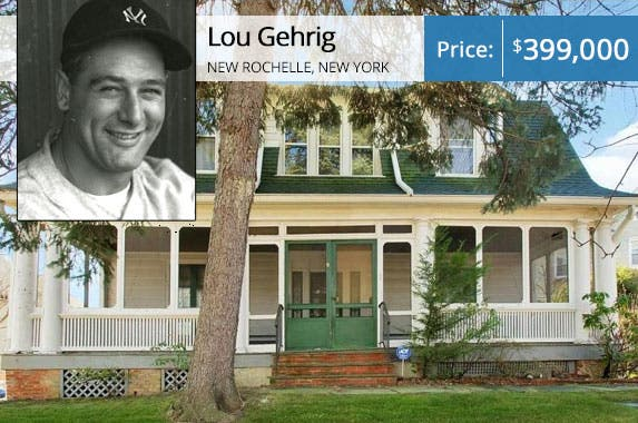 Lou Gehrig | Transcendental Graphics/Getty Images; House: Realtor.com