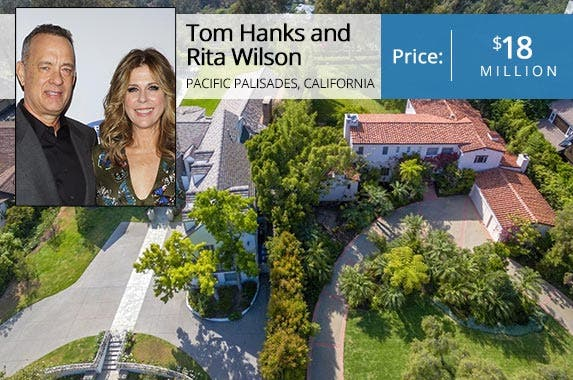 Tom Hanks and Rita Wilson | Jim Spellman/Getty Images; House: Realtor.com