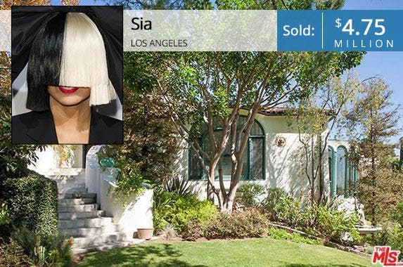 Sia | Noel Vasquez/Getty Images; House: Redfin