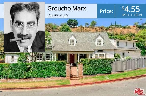 Groucho Marx | John Kobal Foundation/Getty Images; House: Realtor.com