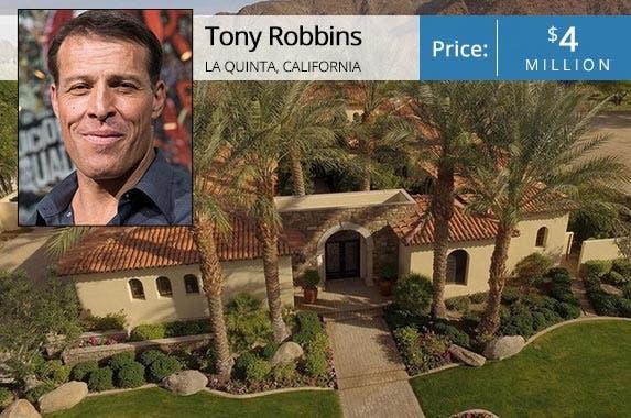 Tony Robbins | Noam Galai/Getty Images; House: Realtor.com