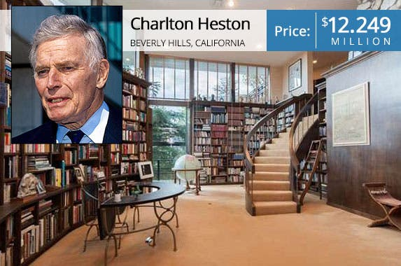 Charlton Heston: © Mark Reinstein/Corbis; House: Realtor.com