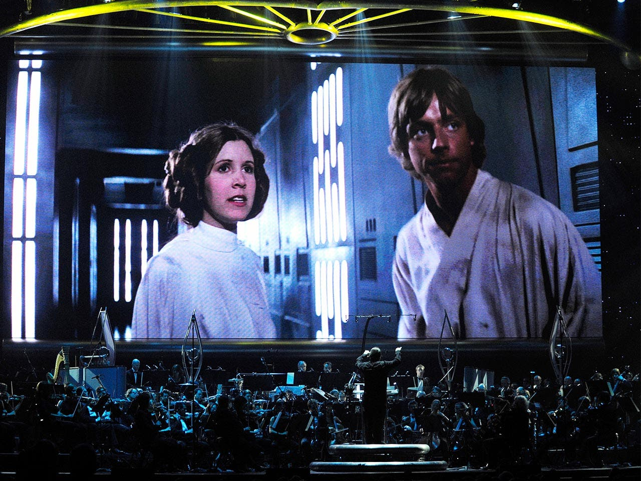 "Movie showing ""Star Wars"" with live orchestra"