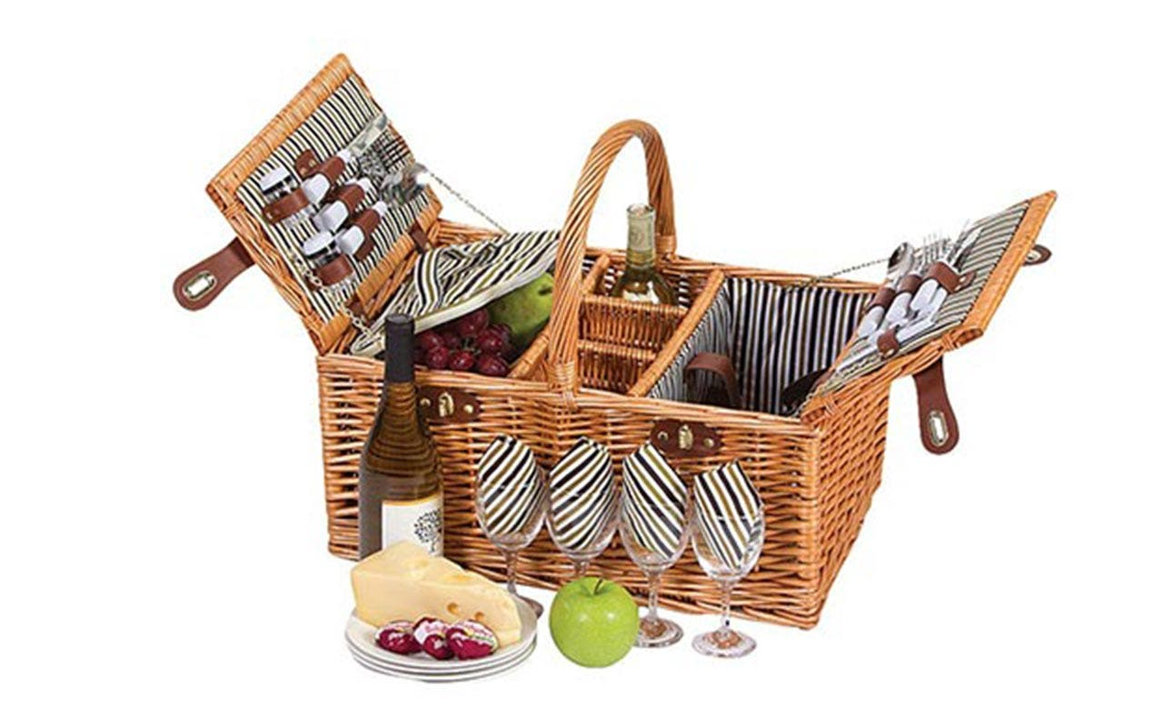 Picnic Plus Dilworth 4-Person Picnic Basket with Removeable Insulated Cooler | Courtesy of Amazon