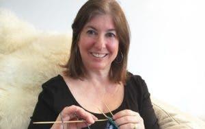 Photo of Jill Cornfield knitting
