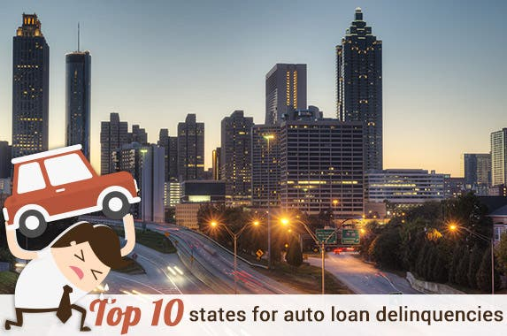 Top 10 states for auto loan delinquencies © Jesse Kunerth/Shutterstock.com