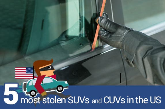 Thief breaking into a car: © fotoedu/Shutterstock.com, Thief on the run vector: © chanpipat/Shutterstock.com, Crossover vehicle profile vector: © chanpipat/Shutterstock.com