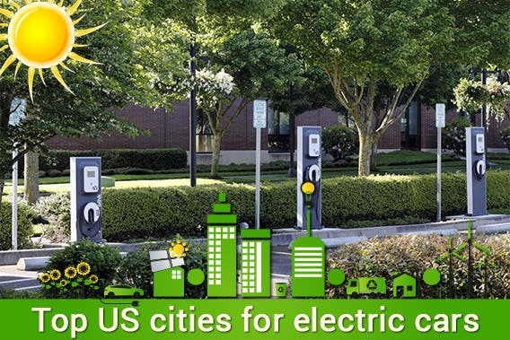 Top 10 US cities for electric cars | © Serenethos/Shutterstock.com, ilustration ©Droidworker/shutterstock