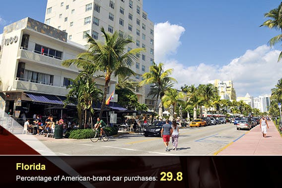 Car overlay: © donvictorio/Shutterstock.com, Florida: © meunierd/Shutterstock.com