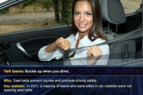 Buckle up when you drive © Africa Studio/Shutterstock.com, overlay: © SP-Photo/Shutterstock.com
