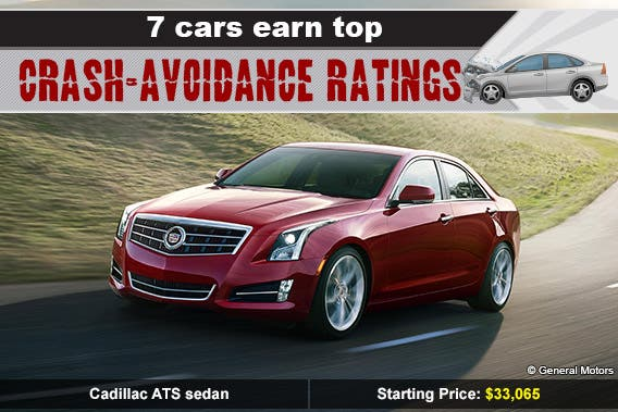 Cadillac ATS sedan © General Motors, car crash: © Skalapendra/Shutterstock.com