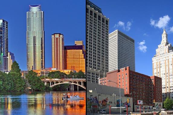 Austin: © Kushal Bose/Shutterstock.com; Tulsa: © Ffooter/Shutterstock.com