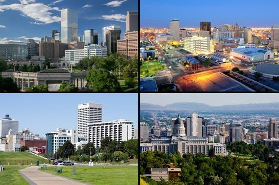 Denver: © Bridget Calip/Shutterstock.com; El Paso: © BrianWancho/Shutterstock.com; Memphis: © Steven Frame/Shutterstock.com; Salt Lake City: © Andrew Zarivny/Shutterstock.com