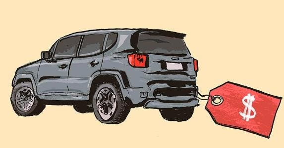Illustration of an SUV and sticker price tag | Endai Huedl/Getty Images