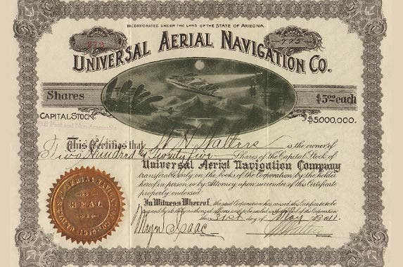 Universal Aerial Navigation Company | Photo courtesy of OldStocks.com