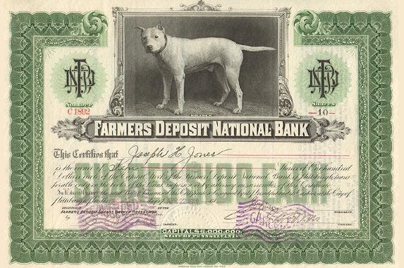 Farmers Deposit National Bank | Photo courtesy of OldStocks.com
