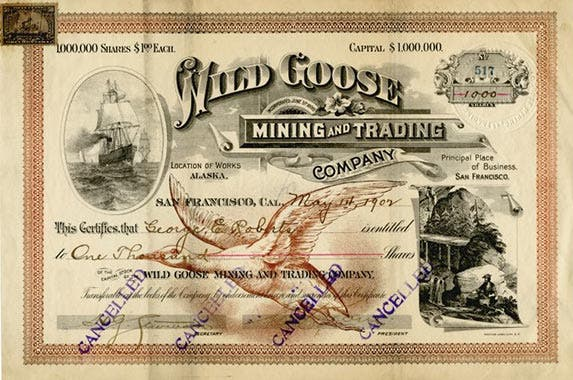 Wild Goose Mining and Trading Company | Photo courtesy of Scripophily.com