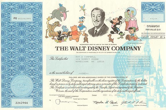 The Walt Disney Company | Photo courtesy of OldStocks.com
