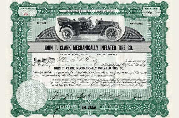 John T. Clark Mechanically Inflated Tire Company | Photo courtesy of Scripophily.com