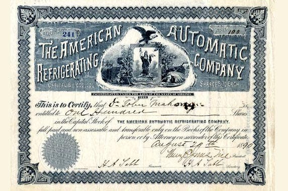 American Automatic Refrigerating Company | Photo courtesy of Scripophily.com